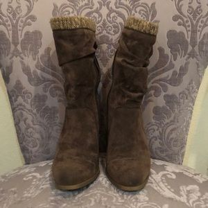 Shoes - Suede brown mid ankle boots